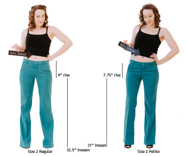 Question: What differences are there between petite and regular clothing? Answer: The main difference is that the clothing is shorter in length. Sleeves, skirts, and tops are all shorter.